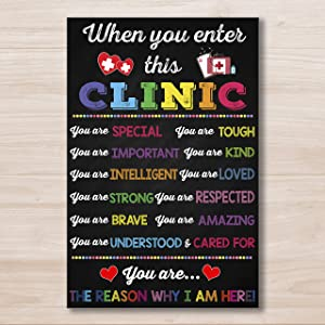 When you Enter This Clinic You Are Special Poster Chalkboard Sign School Health Office Poster Pediatric Clinic Decor School Nurse Gift