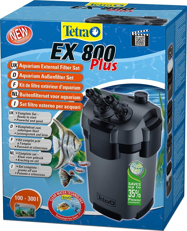TETRA EX 800 Plus - Filtre Extérieur pour tout type d'aquarium de 100 à 300L – Performant, puissant, silencieux – 5 types de filtration – Fonction de préfiltration - Garantie 3 ans