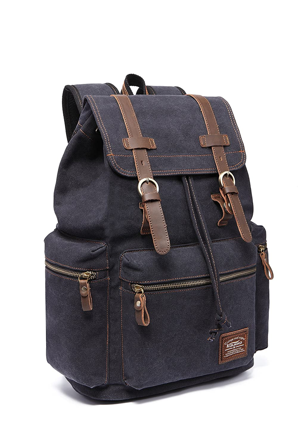 cc017bd6e Amazon.com: KAUKKO Canvas Vintage Backpack Casual Backpack School Leather  Rucksack Outdoor Travel Backpack(Black-1): Computers & Accessories