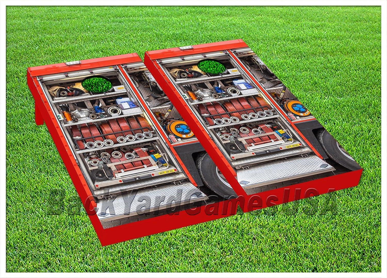 ビニールラップCornhole消防車ホースバッグトスゲームボードデカールステッカー194   B0765D98V9