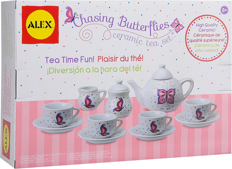 Alex Chasing Butterflies Ceramic Kids Tea Set 13 Piece Toys Games
