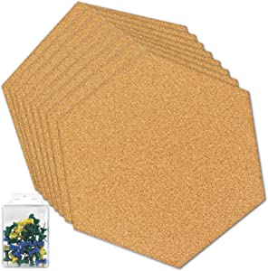 Hexagon Cork Board Tiles Self Adhesive, Pin Board Decoration for Pictures, Mini Wall Bulletin Boards for Home Office School, 8 Pack with 40 Push Pins (8)