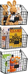 X-cosrack 3 Tier Hanging Metal Wire Basket Bin with 6 Hooks Foldable Wall Mount File Holder Sorter Magazine Mail Rack Fruit Organizer Foyer Storage for Kitchen Bathroom Entryway Garage Office-3 Pack