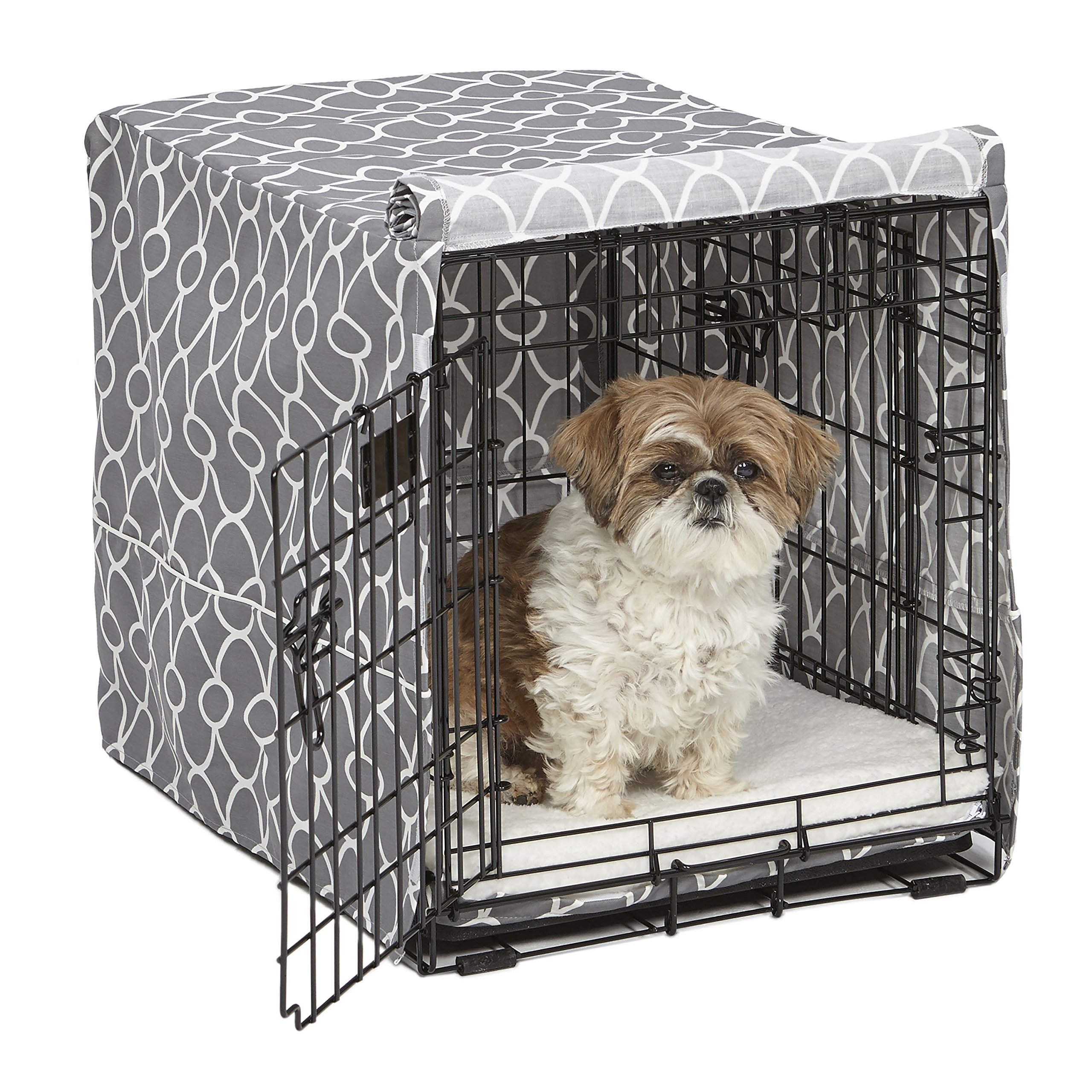 Midwest Homes for Pets Dog Crate Cover, Gray Geometric Pattern, 24-Inch by MidWest Homes for Pets