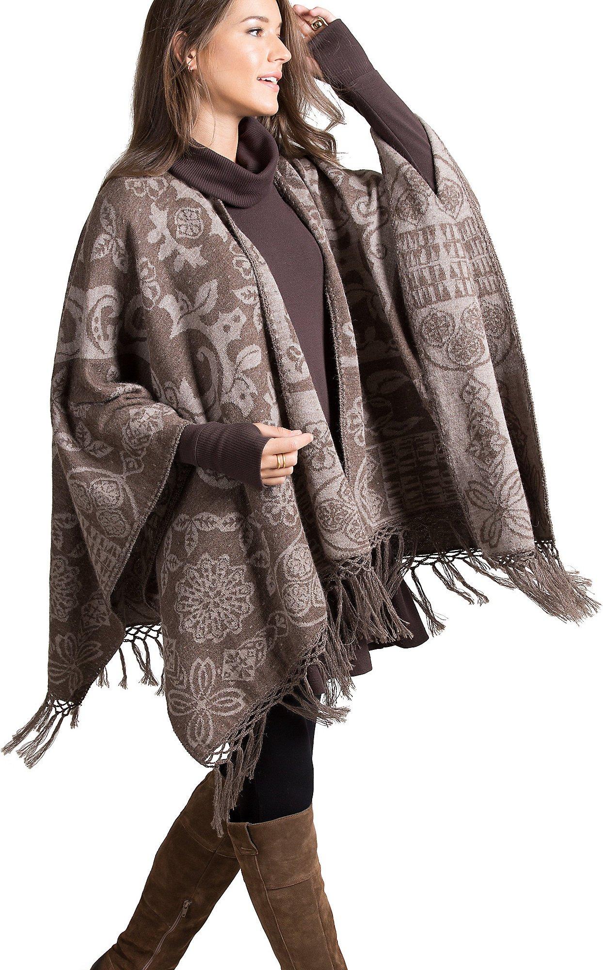 Grace Reversible Peruvian Alpaca Wool Shawl by Overland Sheepskin Co