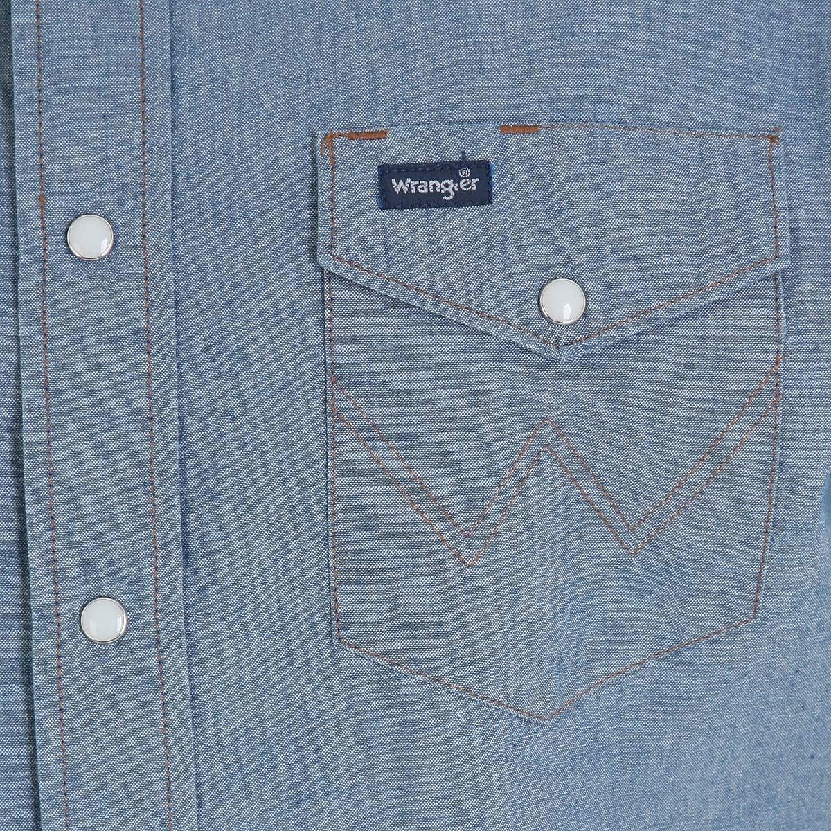 Wrangler Mens Western Long Sleeve Snap Work Shirt Washed Finish