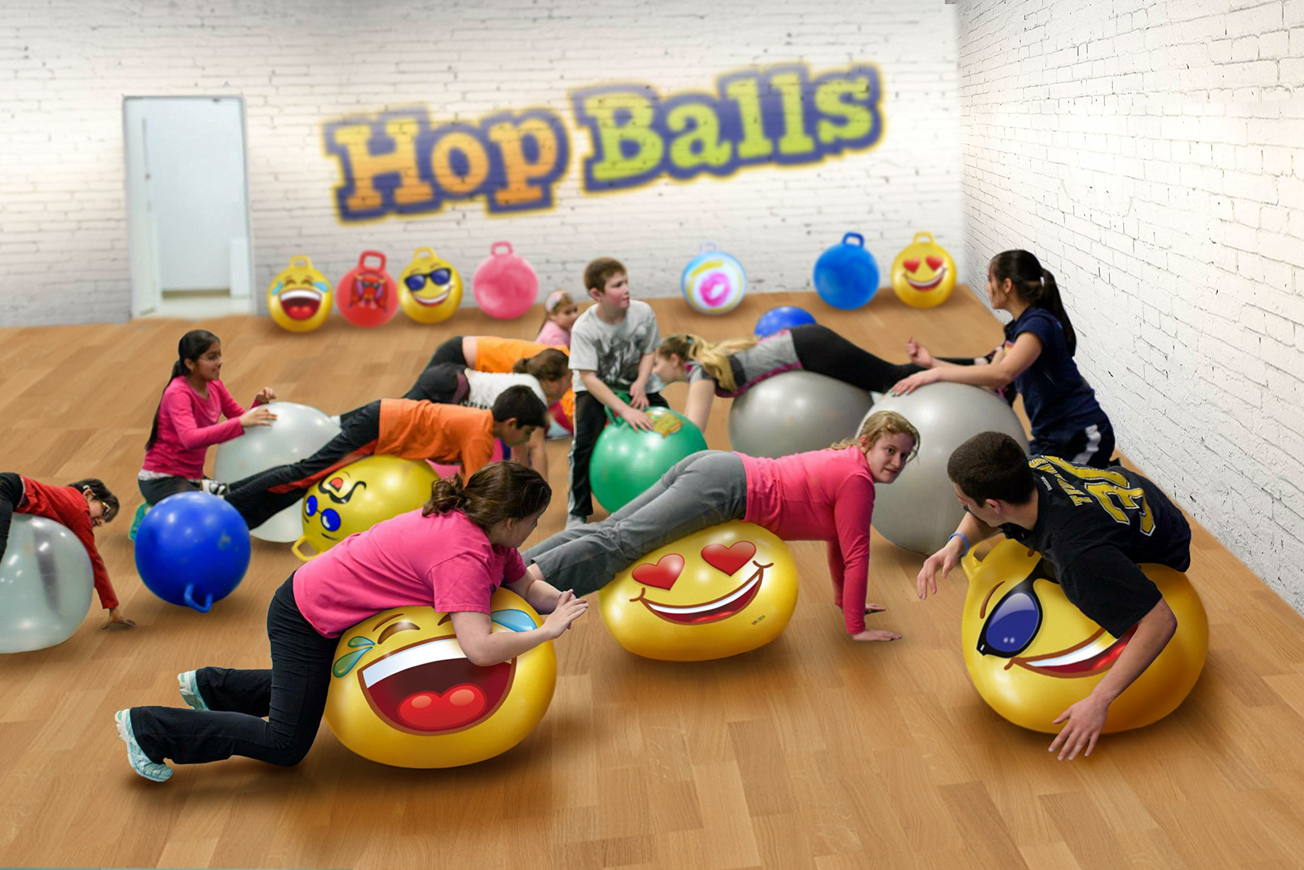 WALIKI TOYS Hopper Ball For Kids Ages 3-6 (Hippity Hop Ball, Hopping Ball, Bouncy Ball With Handles, Sit & Bounce, Kangaroo Bouncer, Jumping Ball, 18 Inches, Emoji, Pump Included) by WALIKI (Image #3)