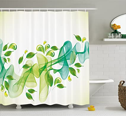 Accessori Bagno Verde Acqua.Abstract Decor Shower Curtain By Ambesonne Motivo Floreale Con