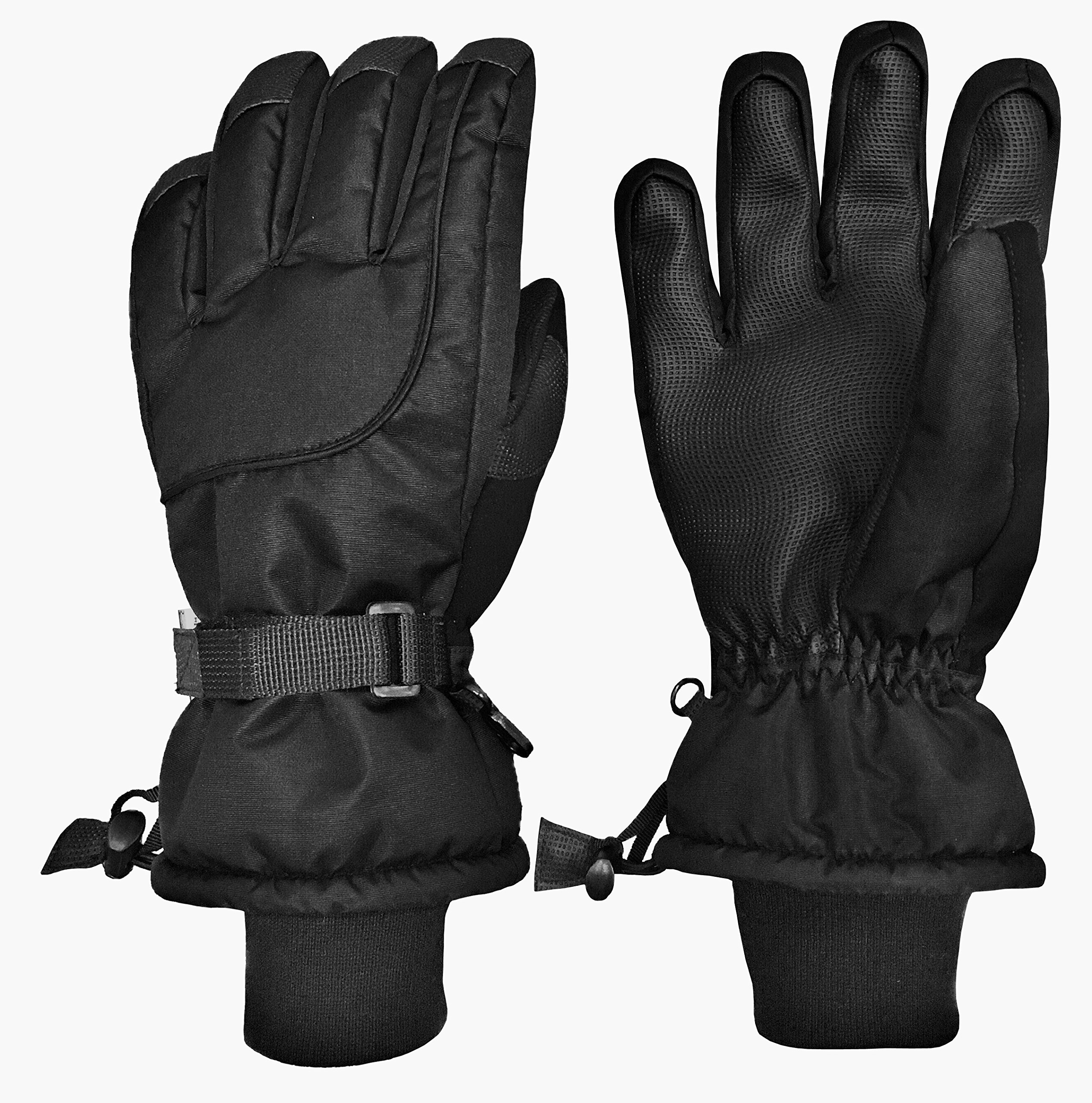 N'Ice Caps Kids Extreme Cold Weather 80 Gram Thinsulate Waterproof Ski Gloves (10-12yrs, Black)