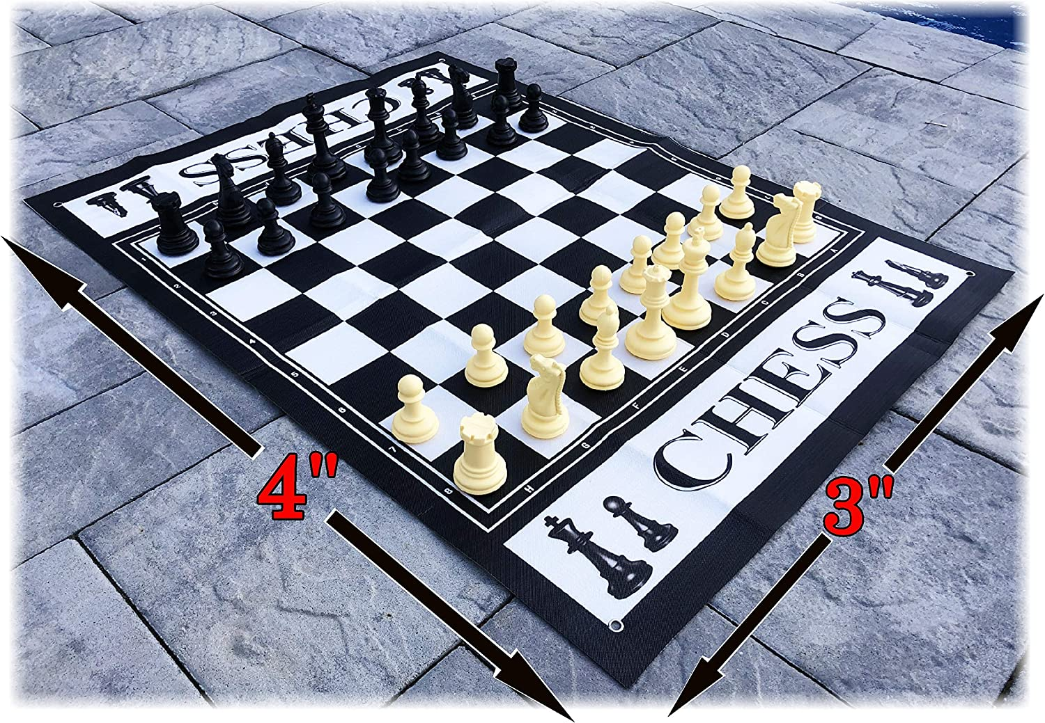 """Matty's Toy Stop Deluxe Large Chess (Indoor/Outdoor) Game with 6"""" King, 4' x 3' Game Mat with with Anchors"""