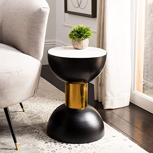 Safavieh Home Zephyr White Marble and Black Round Accent Table