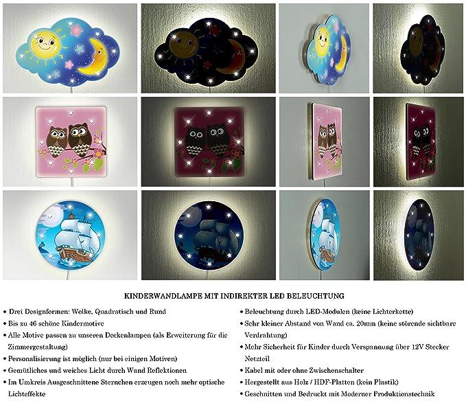 Kinder Wandlampe LED Schlummerlampe m. Namen / Text, ideal als ...