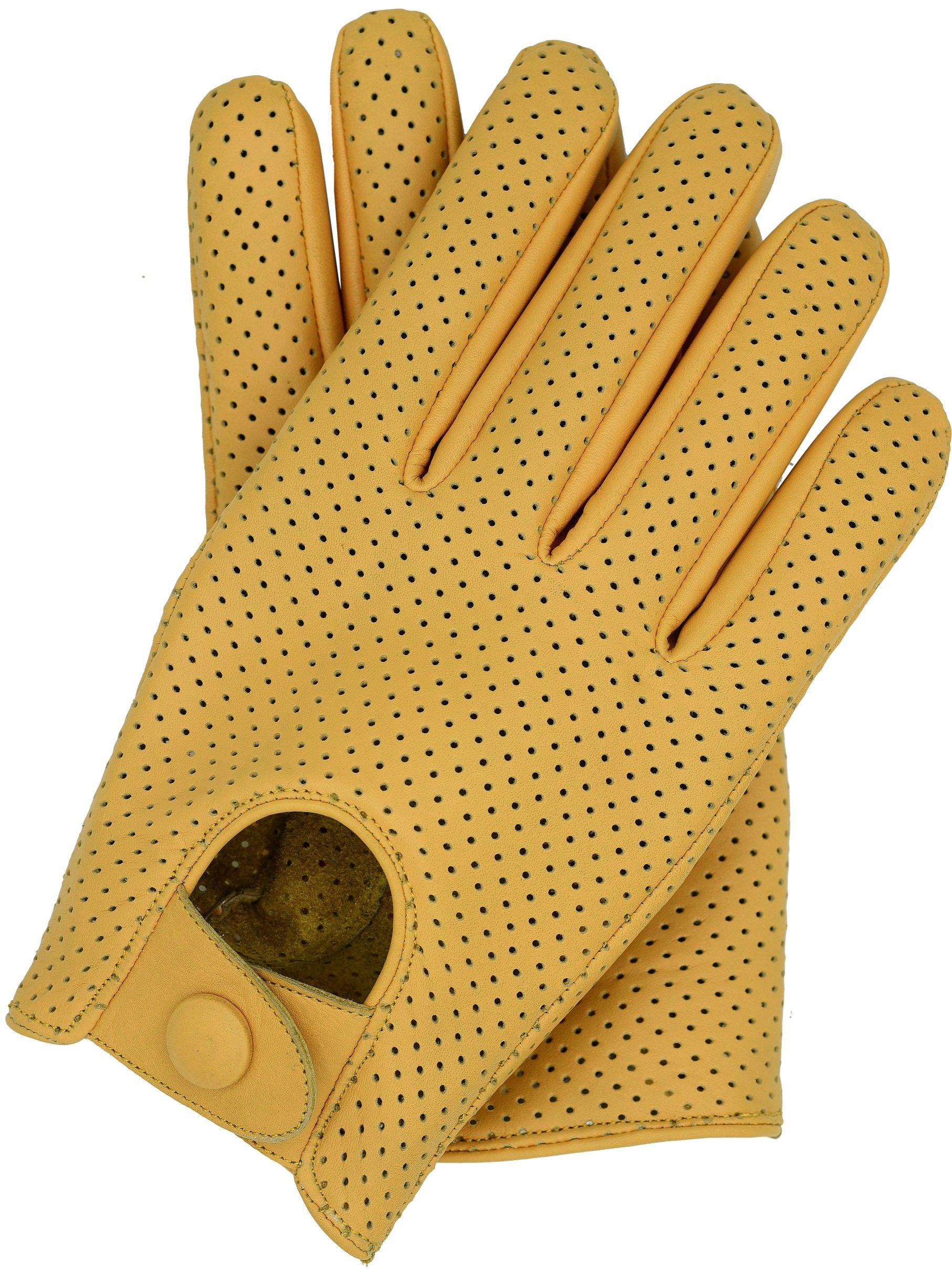 Riparo Motorsports Men's Genuine Leather Mesh Driving Gloves (Medium, Camel)