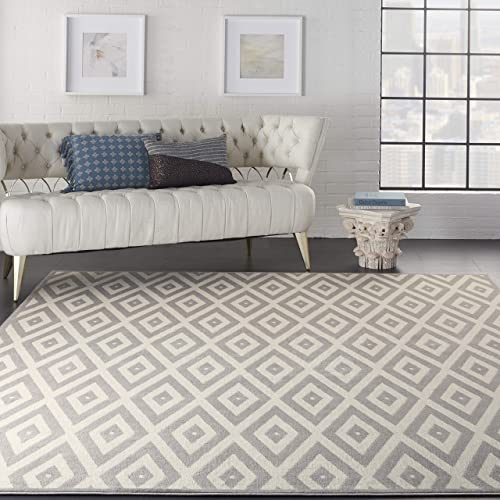 Nourison Grafix White/Grey Area Rug 8'x10'