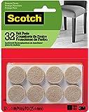 Scotch Felt Pads, Round, Beige, 1-Inch Diameter, 32 Pads/Pack (SP802-NA)