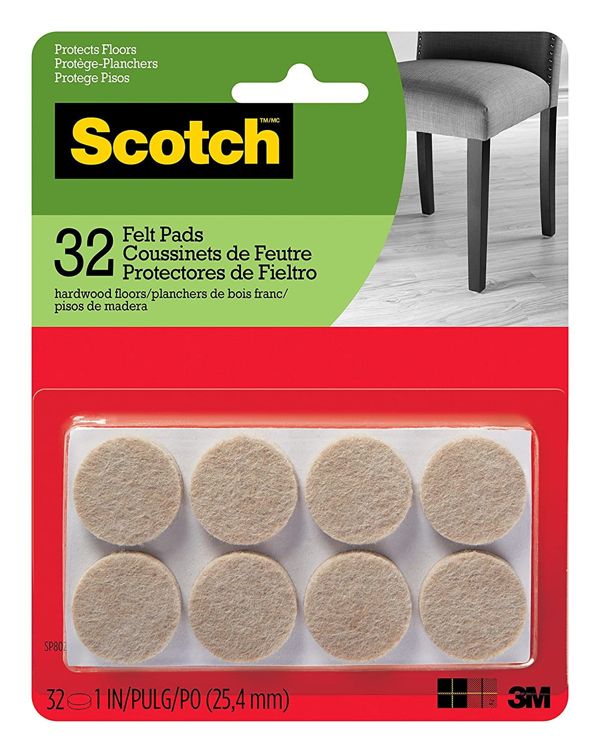 Scotch Mounting, Fastening & Surface Protection SP802-NA Scotch Felt Pads Round, 1 in. Diameter, Beige, 32/Pack,