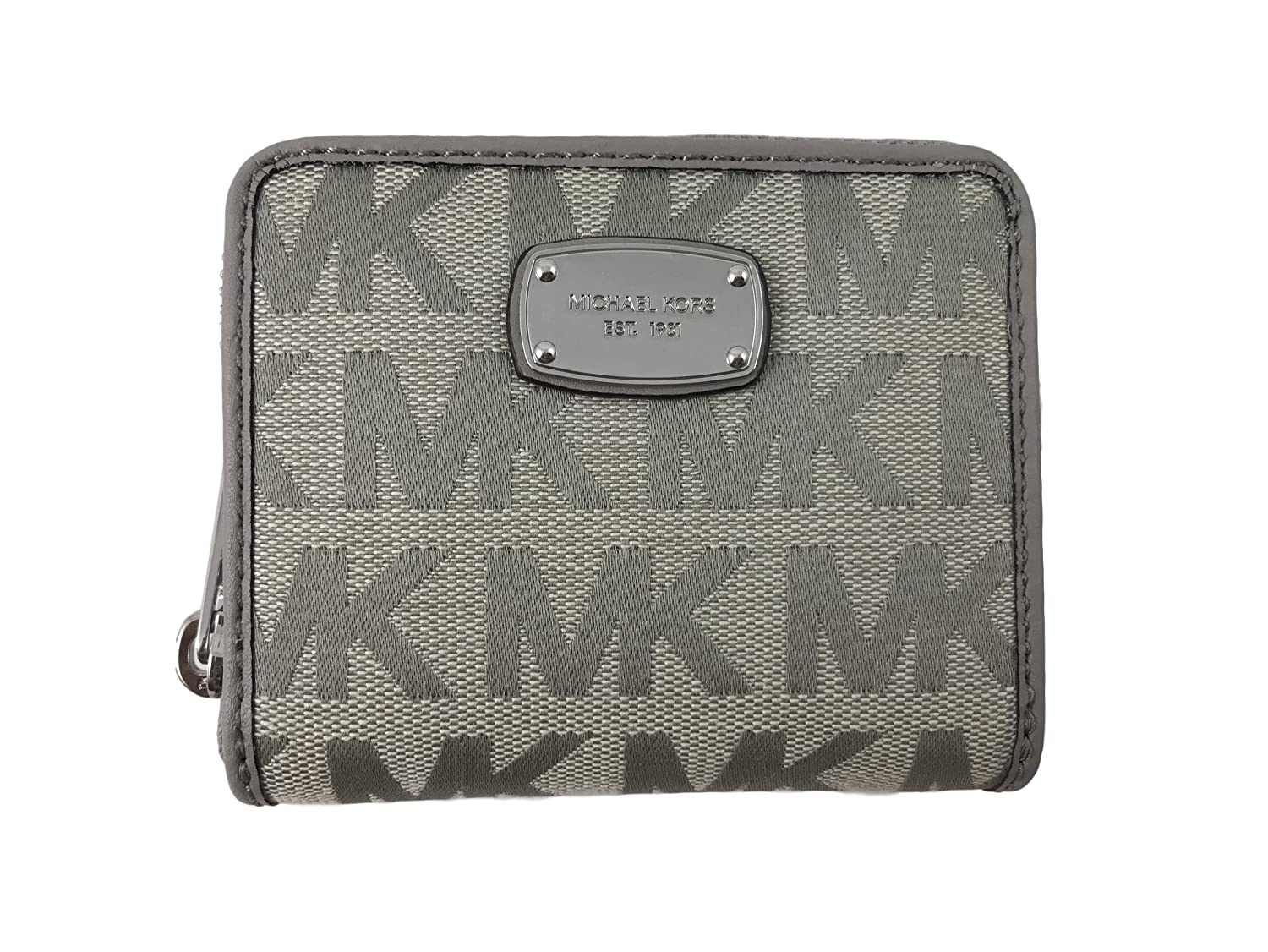 12b8bb16d9f8 Michael Kors Jet Set Item Signature Jacquard Zip Around Bifold Wallet in  Light Grey at Amazon Women's Clothing store:
