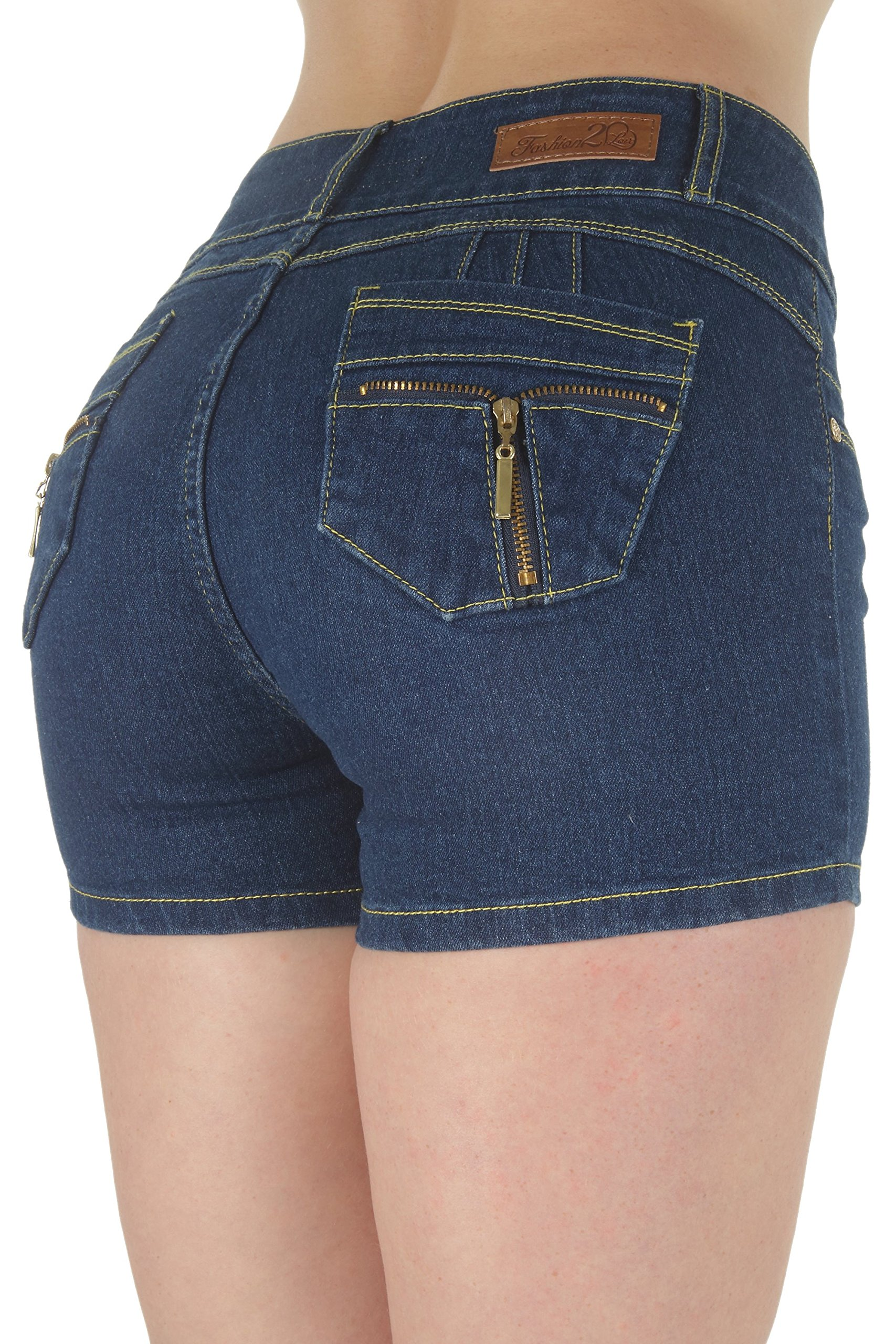 Fashion2Love M947SH-P – Plus Size, Butt Lifting, Levanta Cola, Mid Waist Denim Booty Shorts in Navy Size 16