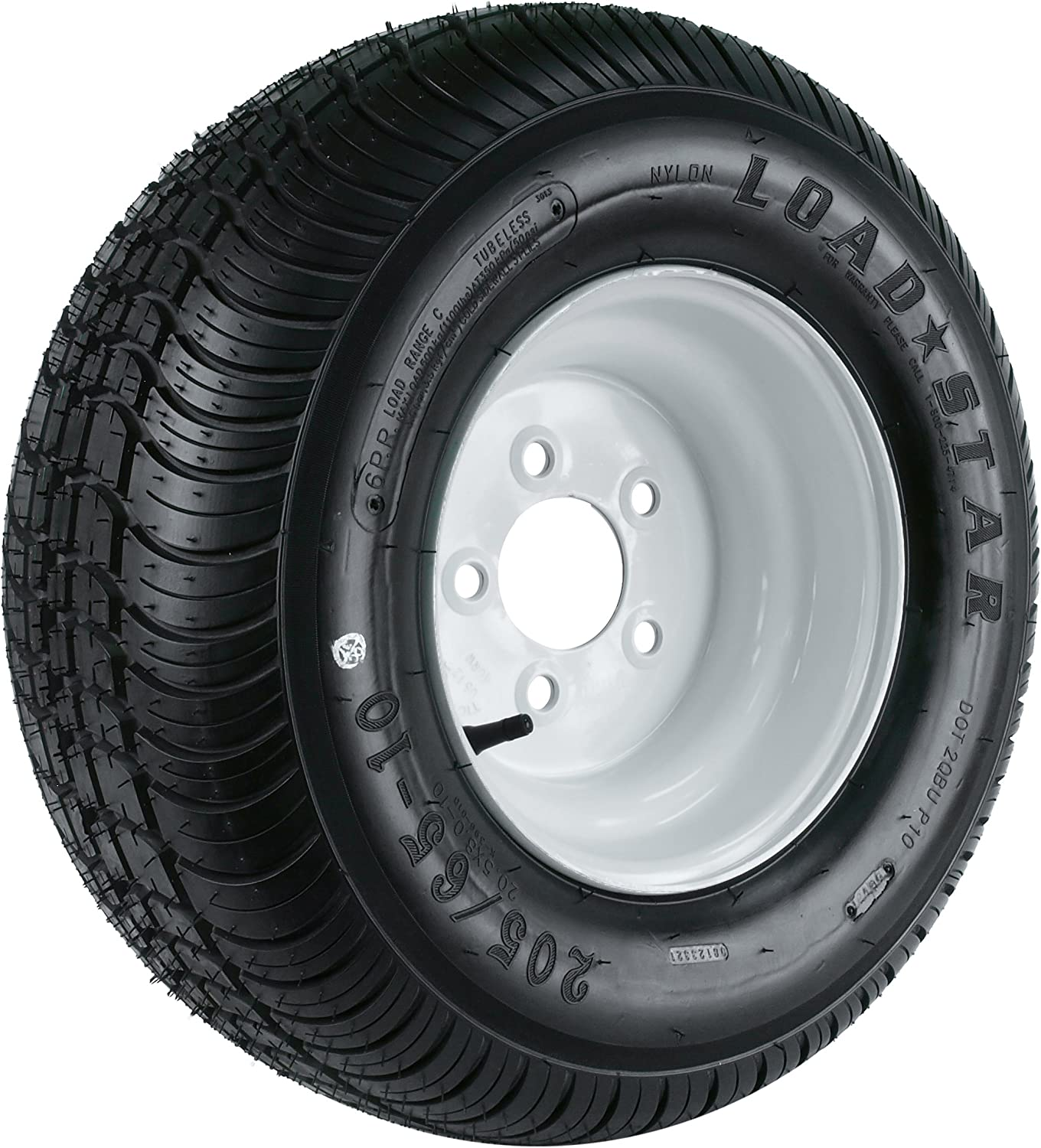 "Kenda Loadstar (10x6""/5x4.5"") Wheel with White Powder-Coat Pinstripe Finish LRC and Trailer Tire Assembly (205/65-10)"