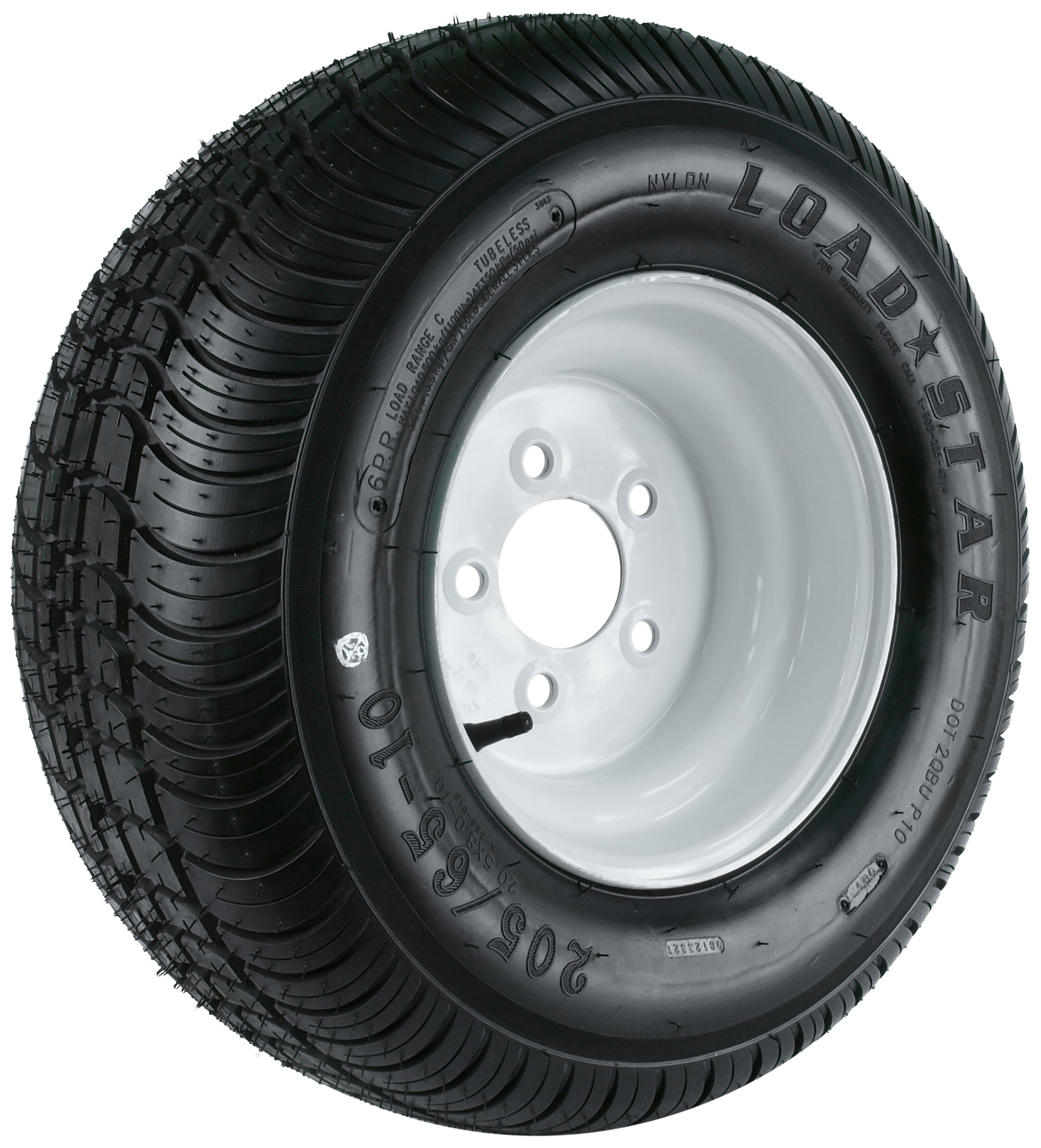 Kenda Loadstar (10x6/5x4.5) Wheel with White Powder-Coat Pinstripe Finish LRC and Trailer Tire Assembly (205/65-10)