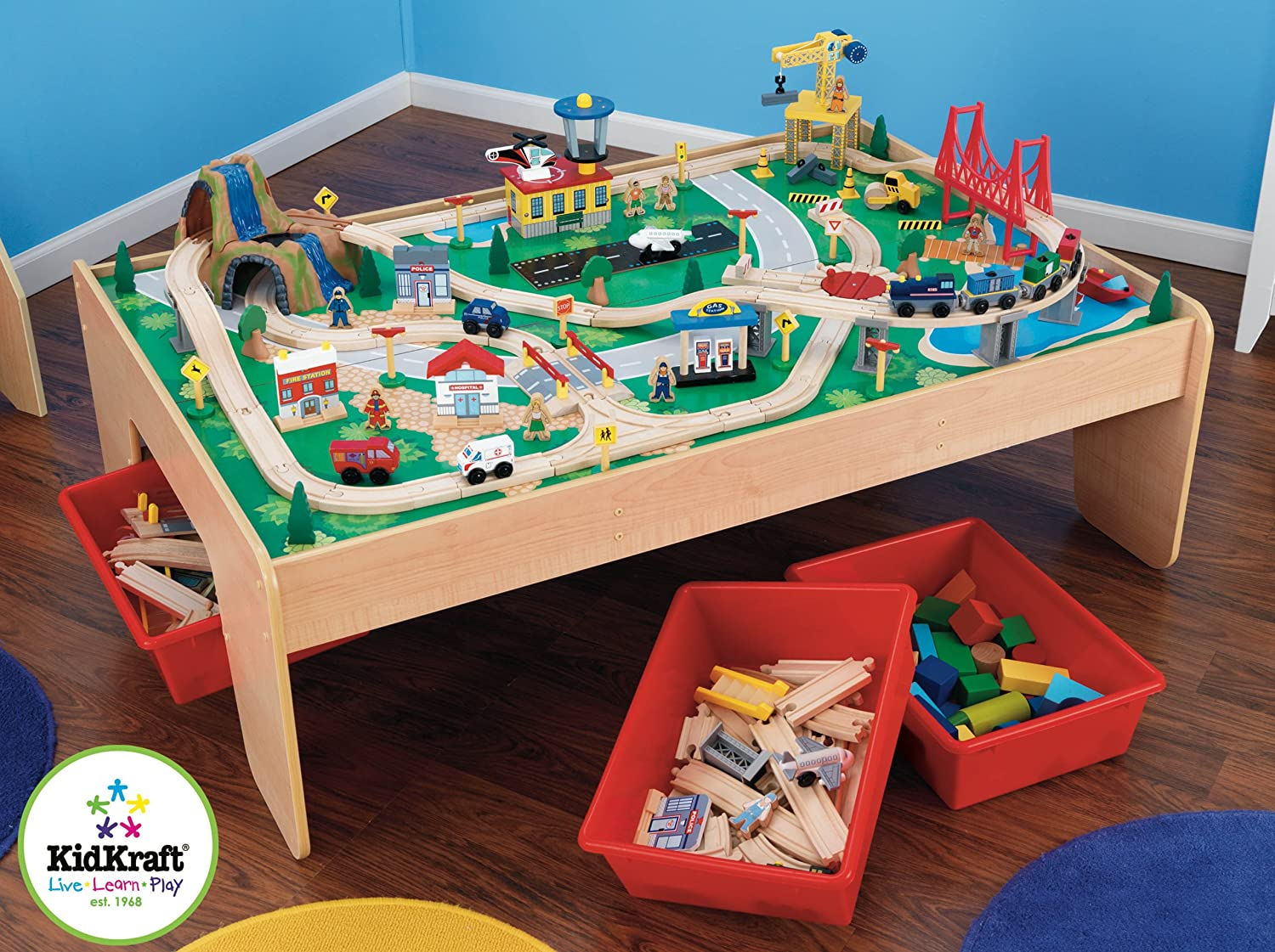 Train Set Table With Drawers Amazoncom Kidkraft Waterfall Mountain Train Set And Table Toys