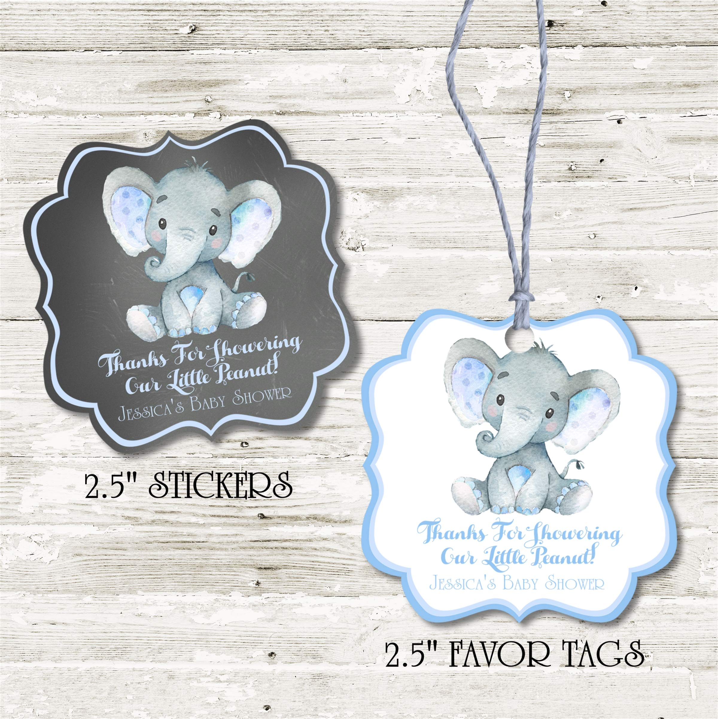 Boys Blue Elephant Baby Shower Favor Stickers, Boys Blue Elephant Baby Shower Favor Tags, Boys Blue Elephant Baby Shower Decorations, Boys Blue Elephant Baby Shower Supplies
