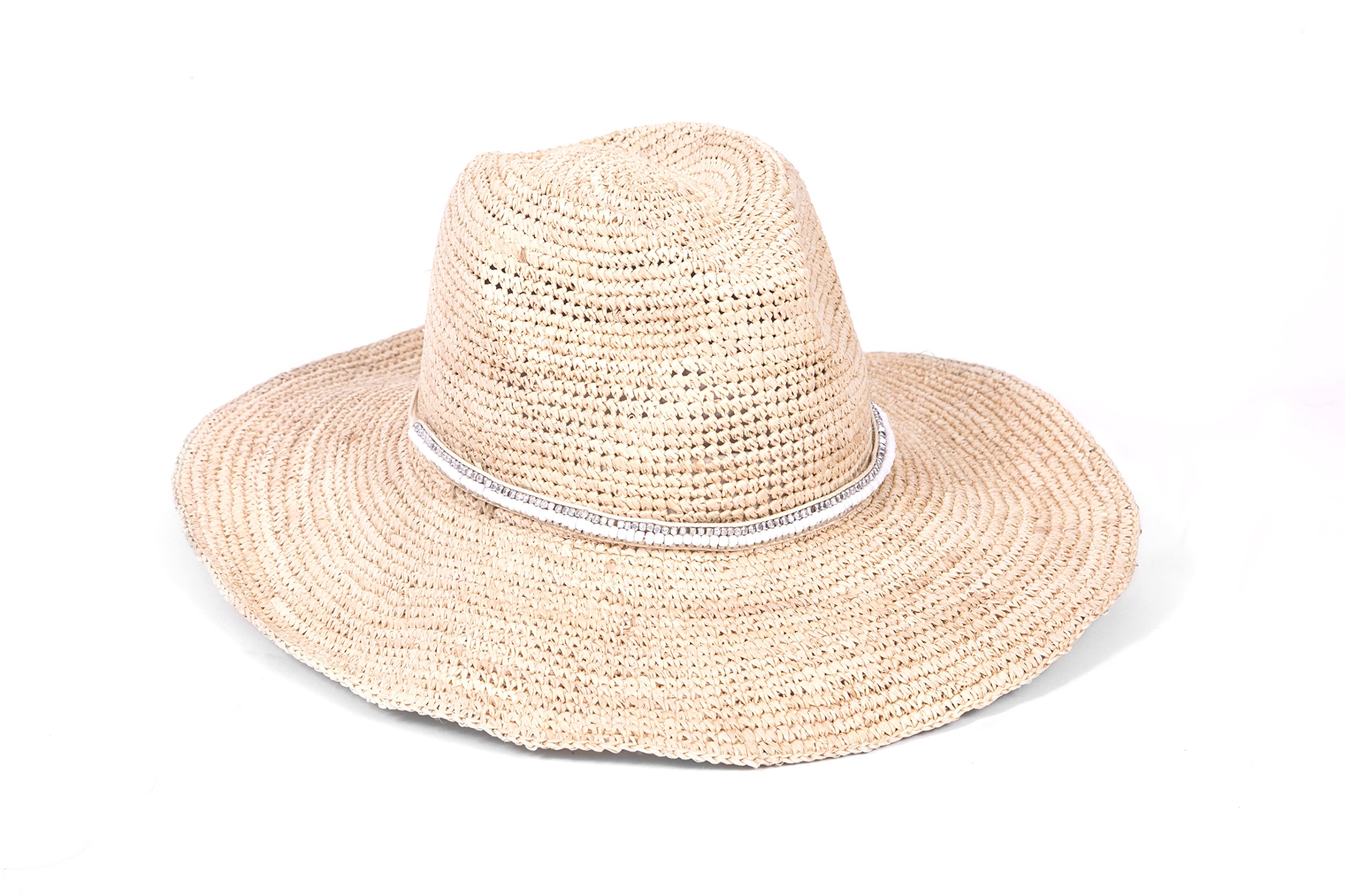 'ale by alessandra Women's Cody Crochet Raffia Sunhat Packable, Adjustable and Upf Rated, Natural/White, One Size
