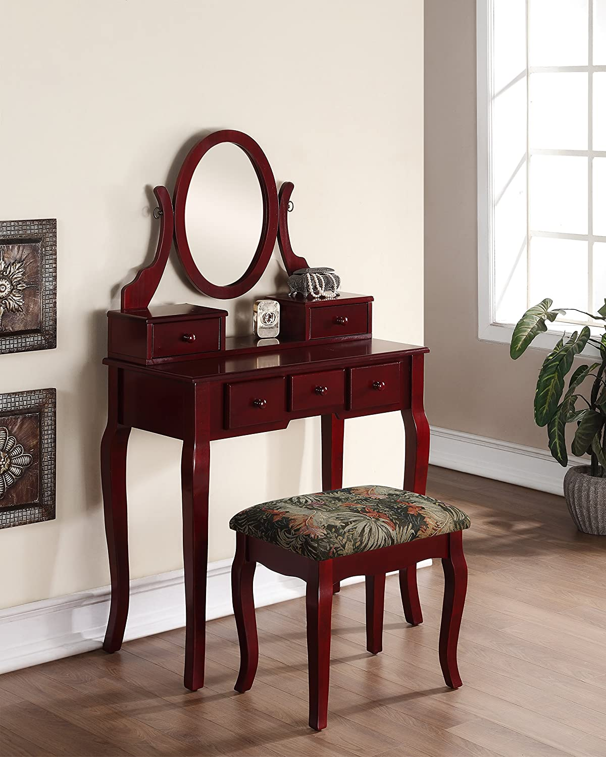Roundhill Furniture Ashley Wood Make-Up Vanity Table and Stool Set, Cherry