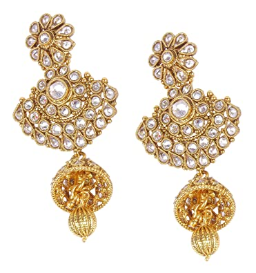 Muchmore Traditional South Indian Style Gold Tone Jhumki Earring