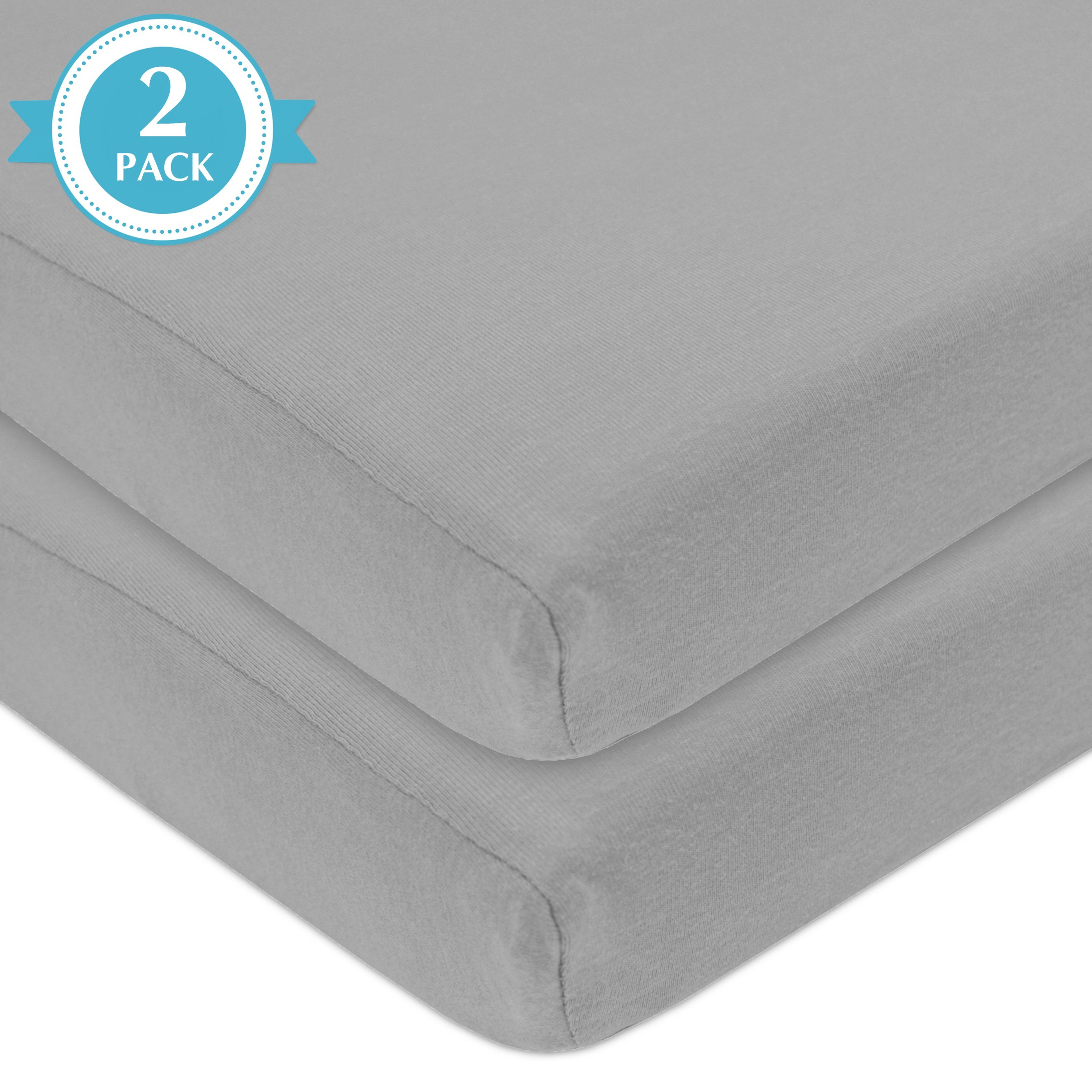 American Baby Company 2 Piece 100% Cotton Value Jersey Knit Fitted  Portable/Mini-Crib Sheet, Gray