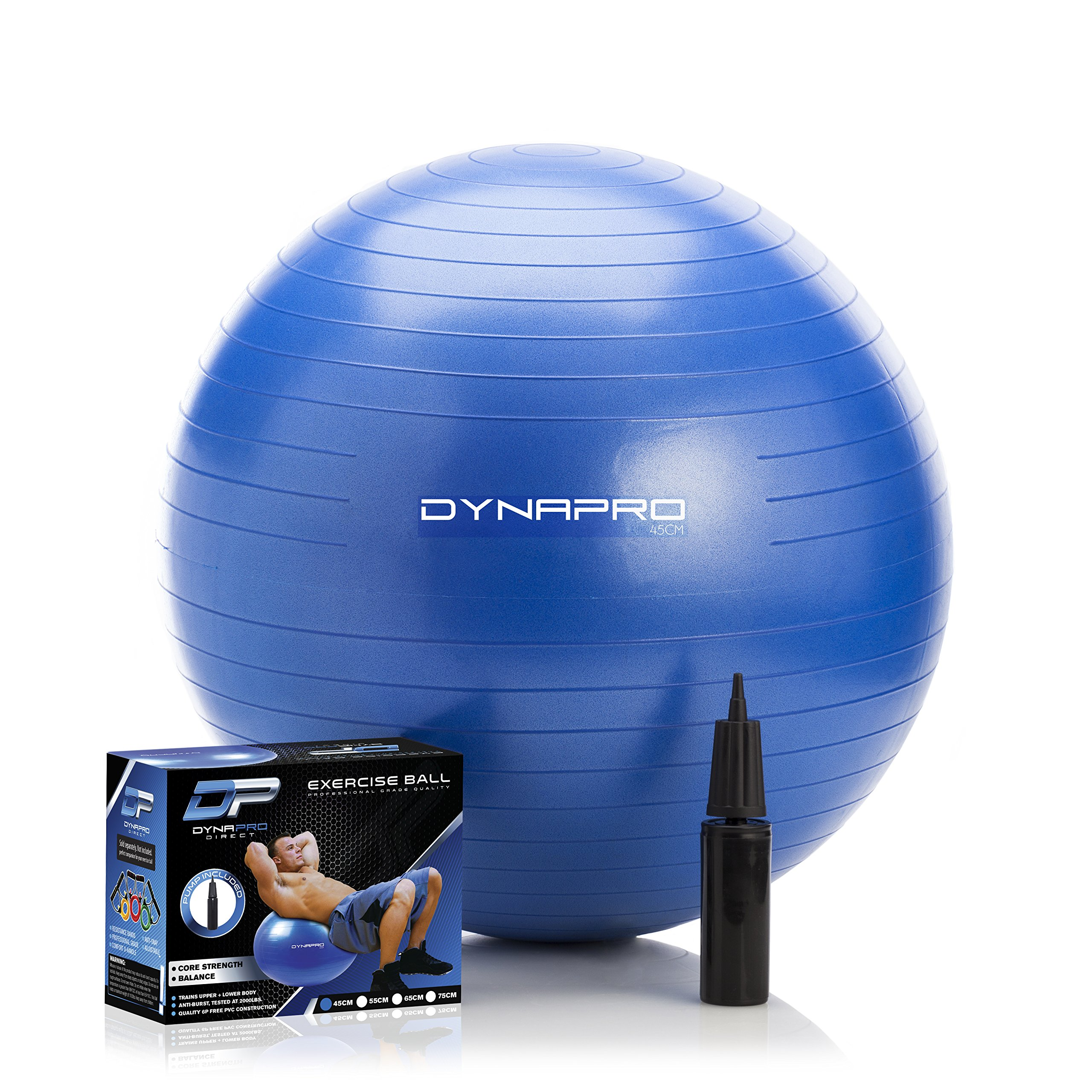 DYNAPRO Exercise Ball - 2,000 lbs Stability Ball - Professional Grade – Anti Burst Exercise Equipment for Home, Balance, Gym, Core Strength, Yoga, Fitness, Desk Chairs (Blue, 45 Centimeters) by DYNAPRO (Image #1)