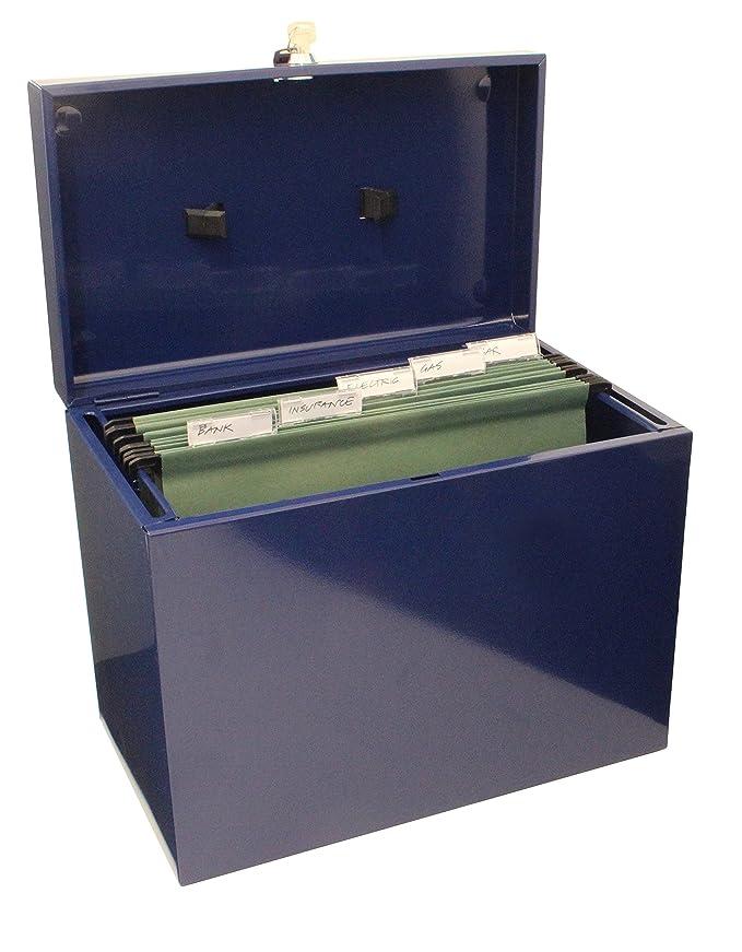Caja archivadora de metal, tamaño A4, color azul: Amazon.es: Oficina y papelería