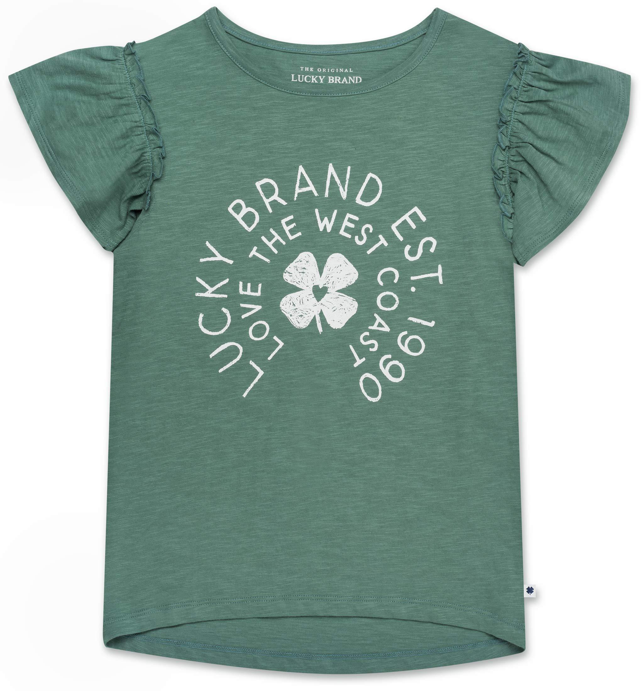 Lucky Brand Big Girls' Short Sleeve Ruffle Top