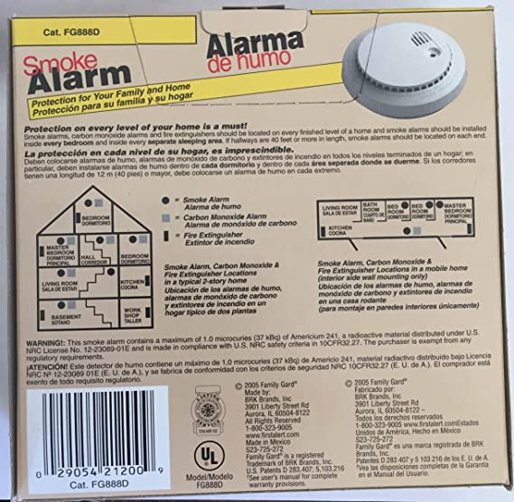 Family Gard Smoke Alarm Model Number FG888D