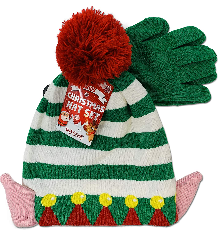 Merry Christmas Set composto da cappello e guanti super caldo a tema natalizio lavorato a maglia
