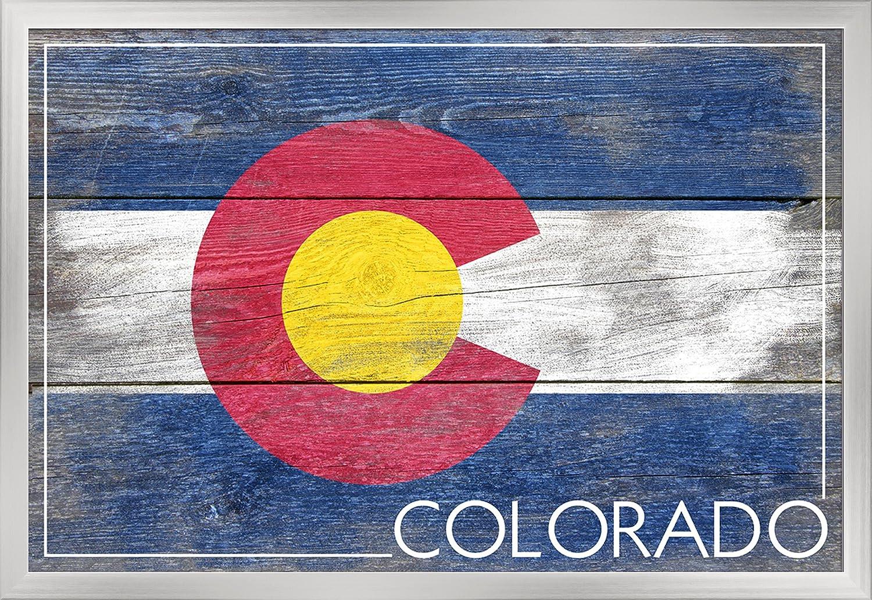 素朴なColorado State Flag 36 x 24 Framed Giclee (Silver) LANT-3P-FP-SIL-52459-24x36 B019F4TNJK  36 x 24 Framed Giclee (Silver)