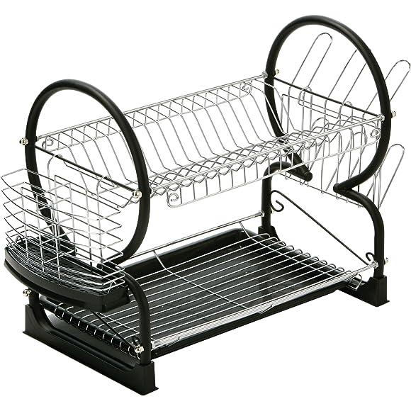 Premier Housewares Black 2-Tier Dish Drainer