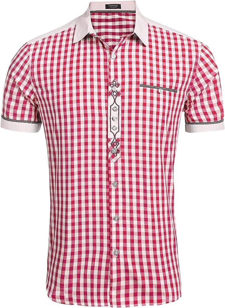 Coofandy Shirt for Men Camisa Rojo Hombre Manga Corta Delgado Talla M: Amazon.es: Ropa y accesorios