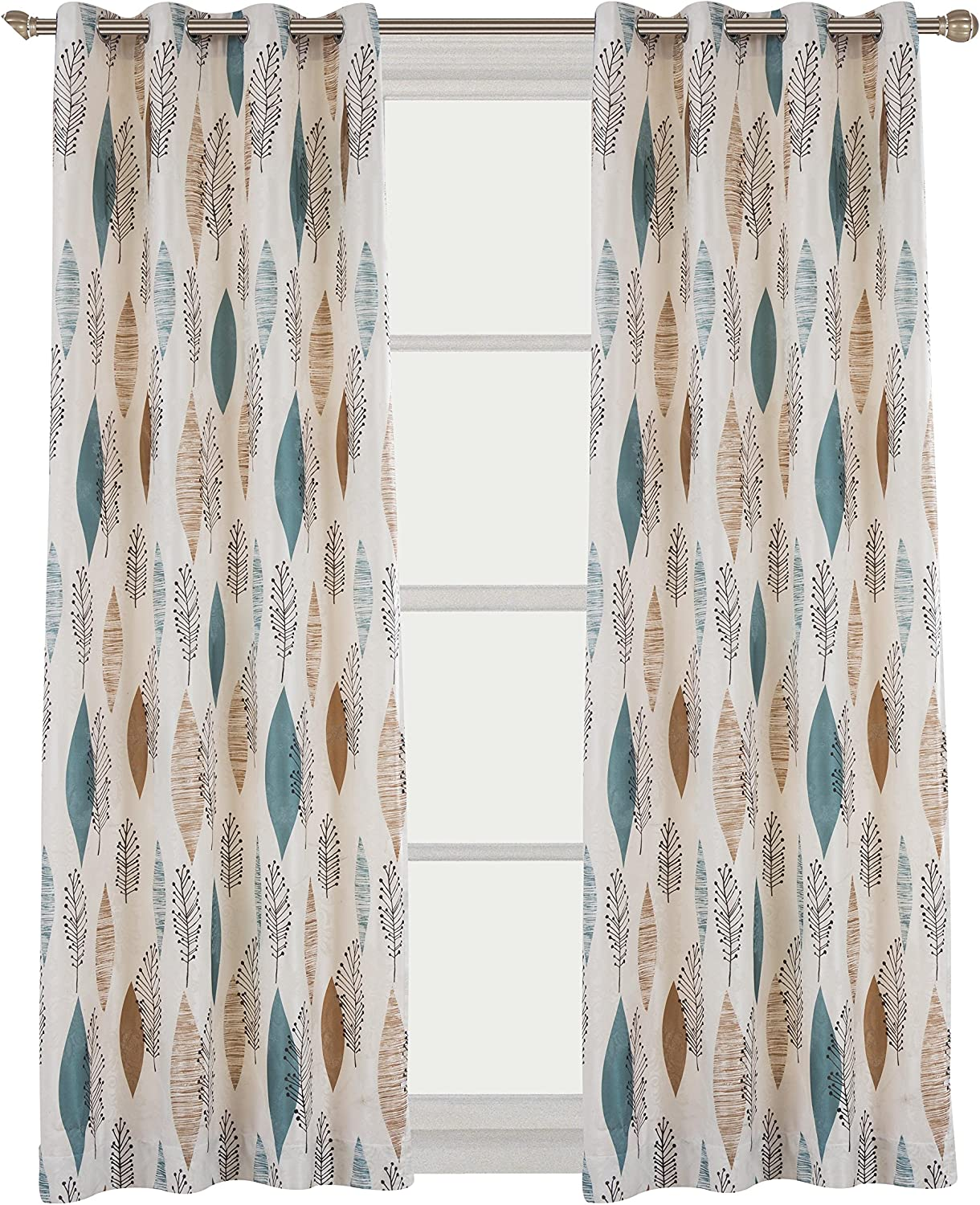 Cherry Home Rustic Curtains with Floral Leaves Blossom Room Darkening Blocking Light Lined Curtains Panel Drapes Bedroom Grommet Top,1 Panel, 52Wx84L Inch