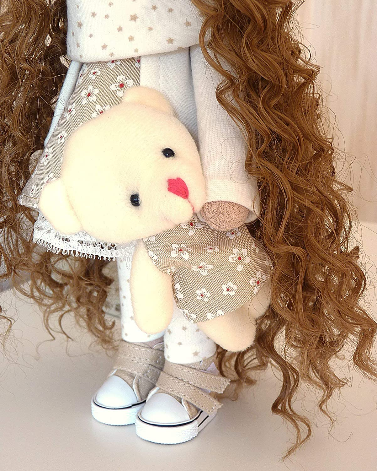 Fabric Doll Handmade Doll Textile Doll Rag Doll Decoration Doll Interior Doll Handmade Toy Cloth Doll Decor Doll Doll with bear Art Doll