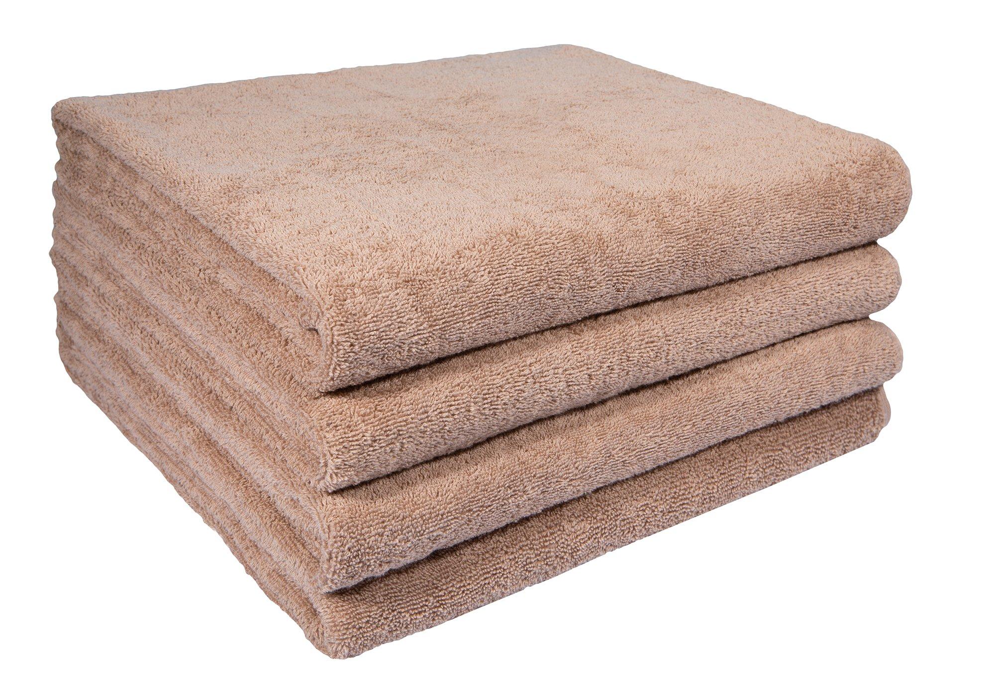 Home and Plan Quick Dry Premium 100% Turkish Cotton Bath Sheets | 4-Piece Set, Decorative Oversized Bath Towels (30x60) - Beige (S9)
