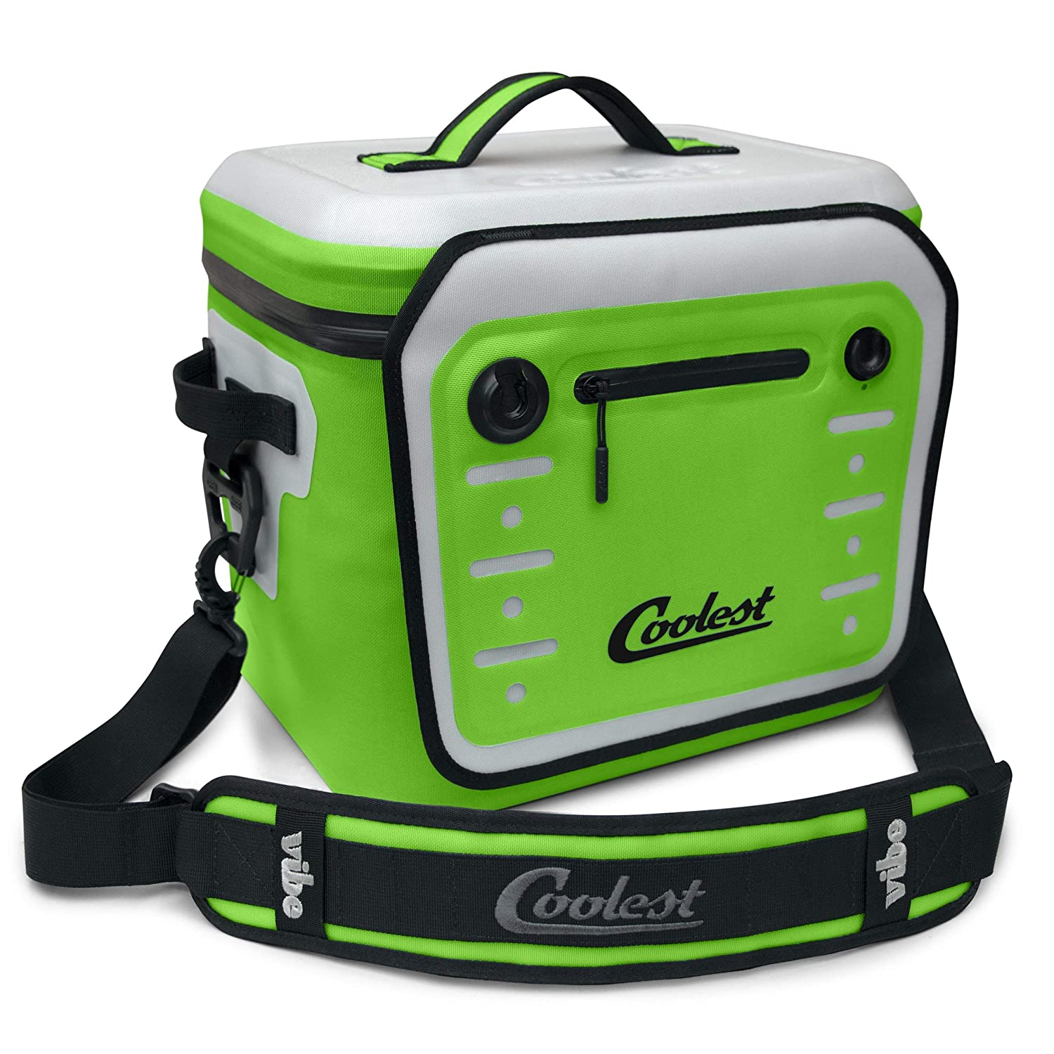 Waterproof Portable Cooler with Fliplock Magnetic Latch and Universal Mount Boating Biking Perfect for The Beach Insulated Camping tailgaiting 18 Can, Green Coolest Vibe Premium Soft-Sided