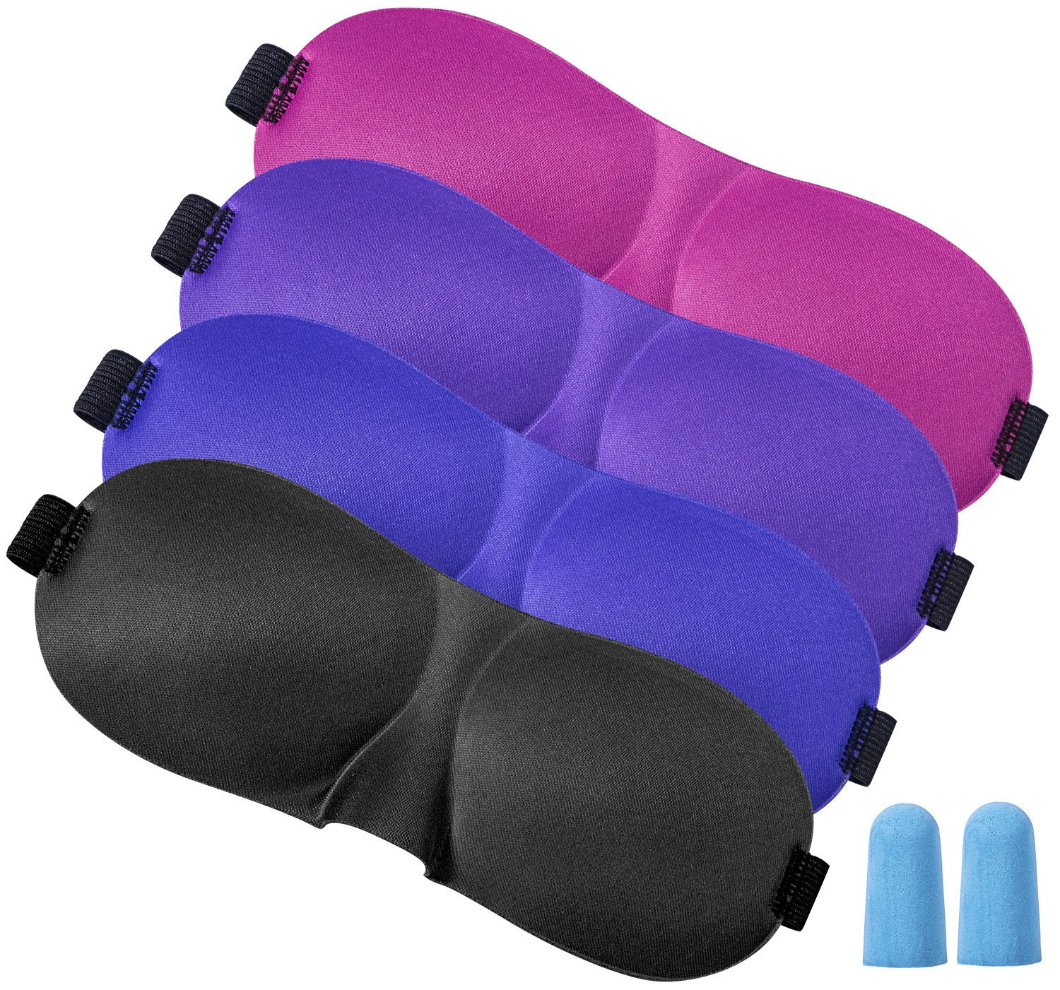 Fasker 4 Pack Eye Mask, Lightweight & Comfortable Super Soft Adjustable Sleep Mask With 2 Pack Ear Plugs | Works With Every Nap Position | Ultimate Sleeping Aid/Blindfold, Blocks Light CLO-012-1
