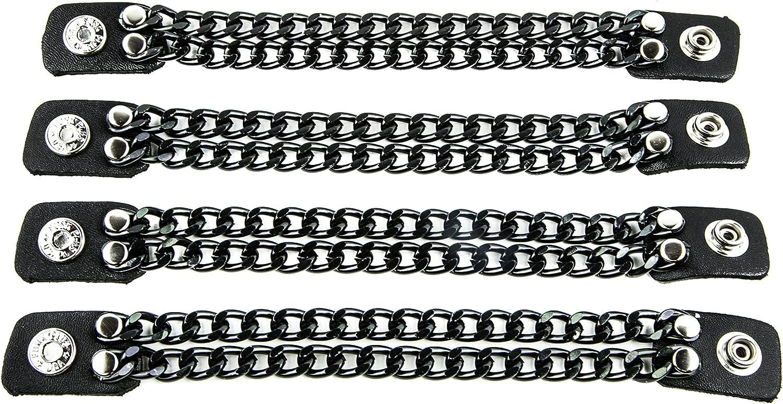 Biker Vest Chain Extender Double Regular chain Extension Black Leather-4Pcs