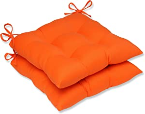 Pillow Perfect Outdoor Sundeck Tufted Seat Cushion, Orange, Set of 2