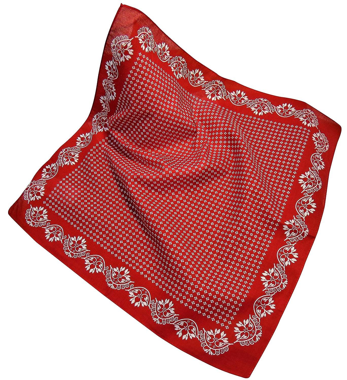 Nickituch mit Blumen-Muster I Bandana aus 100/% Baumwolle mit Blumen-Bord/üre I Halstuch 53 x 53 cm mit Bl/üten-Muster I Teichmann