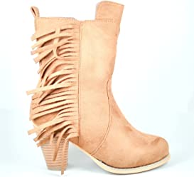 ae7a44514590 Steven Ella HWXT05-Women s Tan Mid-Calf Boot with Stacked Heel and Fringe  Detail