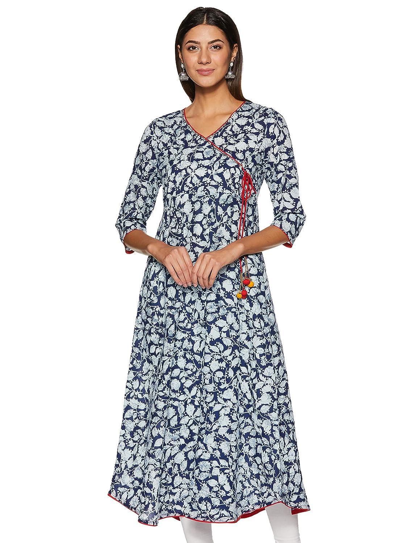 Indigo Color Cotton Angrakha Kurti For Women's