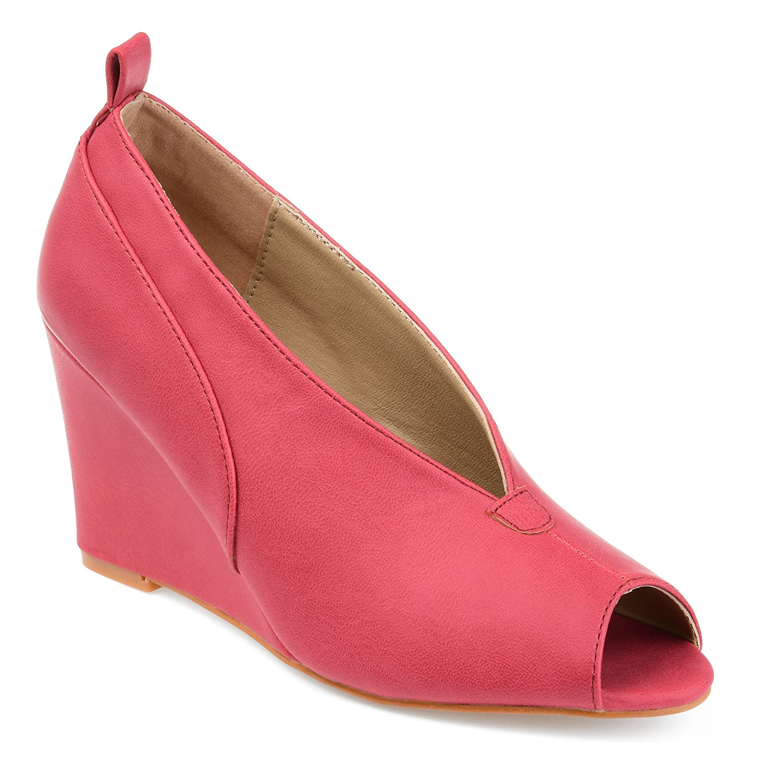 Brinley Co Womens Camden Faux Leather Peep-Toe Deep V-Cut Wedges B07573BM2K 10 B(M) US|Pink