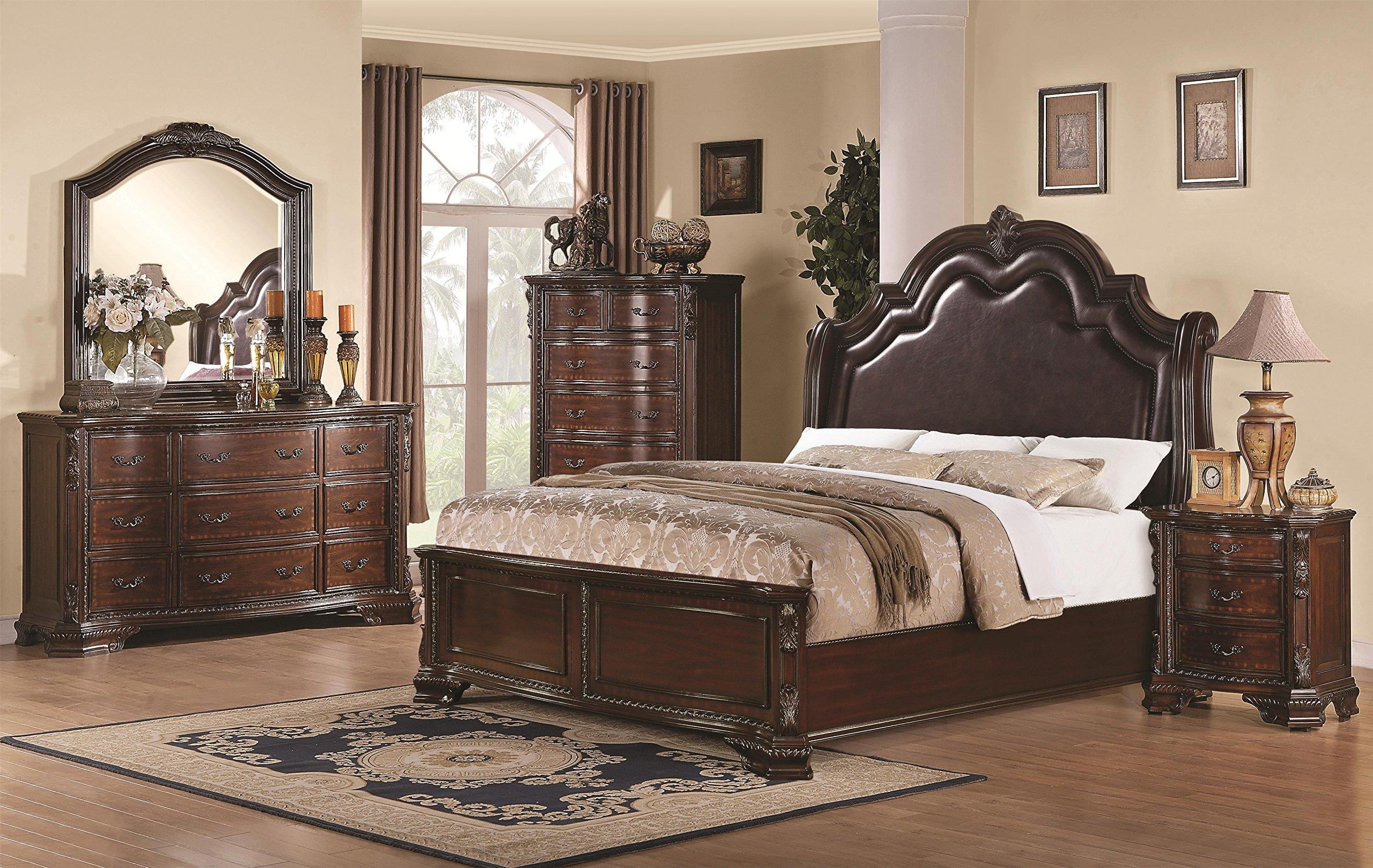 5 Pc Rachel King Bedroom Collection Bed, Dresser, Chest, Mirror, Nightstand